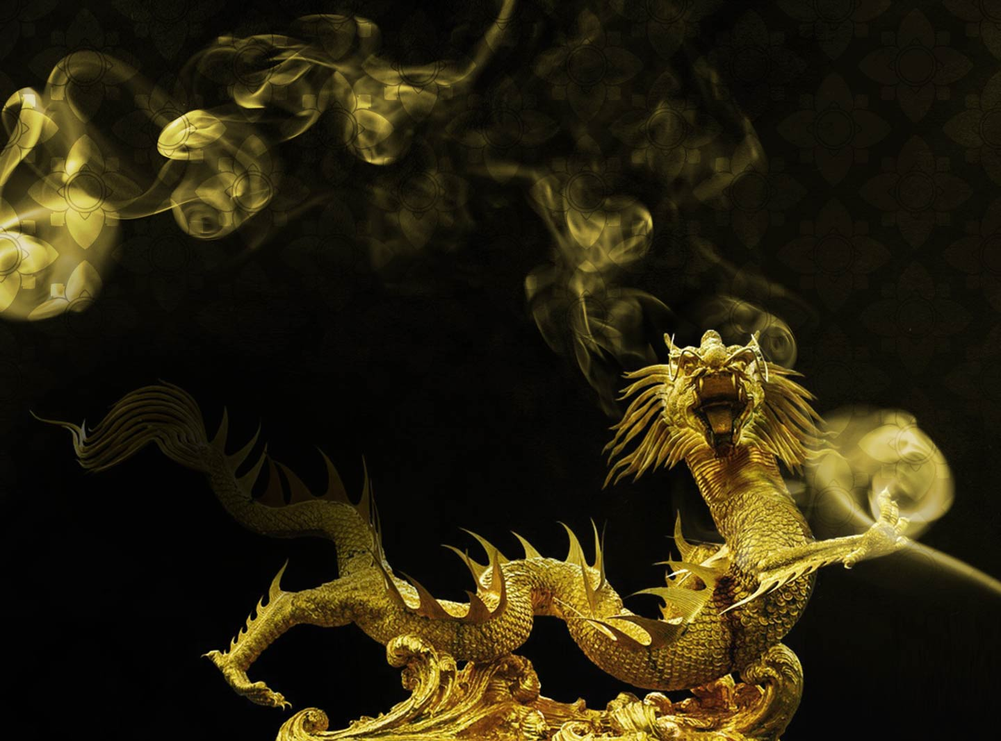 golden dragon with gold smoke